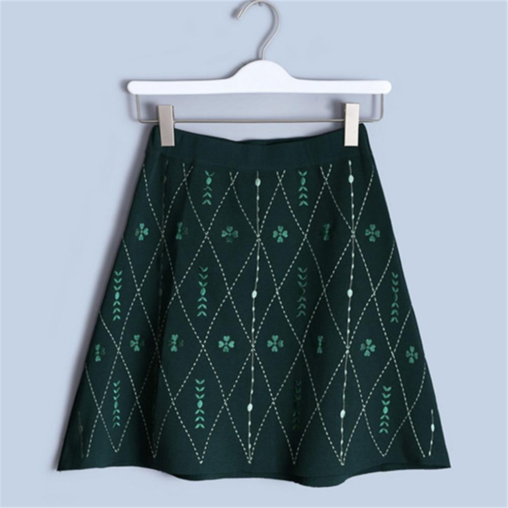 Tunjuefs Design Lingge Embroidery Skirt Vintage 2019 New Summer Skirt Women Knit Skirt Flower Elastic Waist