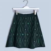Runway Design Lingge Embroidery Skirt Vintage 2018 New Summer Skirt Women Knit Skirt Flower Elastic Waist Skirt High Quality
