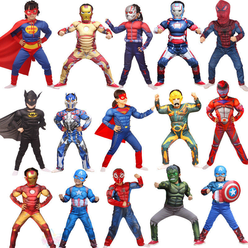 Superhero Cosplay Costume Set Batman Superman Spiderman Halloween Costumes For Kids Cosplay Muscle Mask Headgear Party Clothes