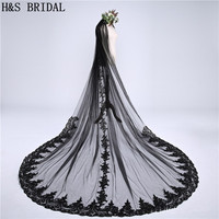 H&S BRIDAL Black Black Wedding Veil One Layer 3meters Lace Edge Cathedral Wedding Veil Long Bridal Veil Cheap Veu de Noi longo