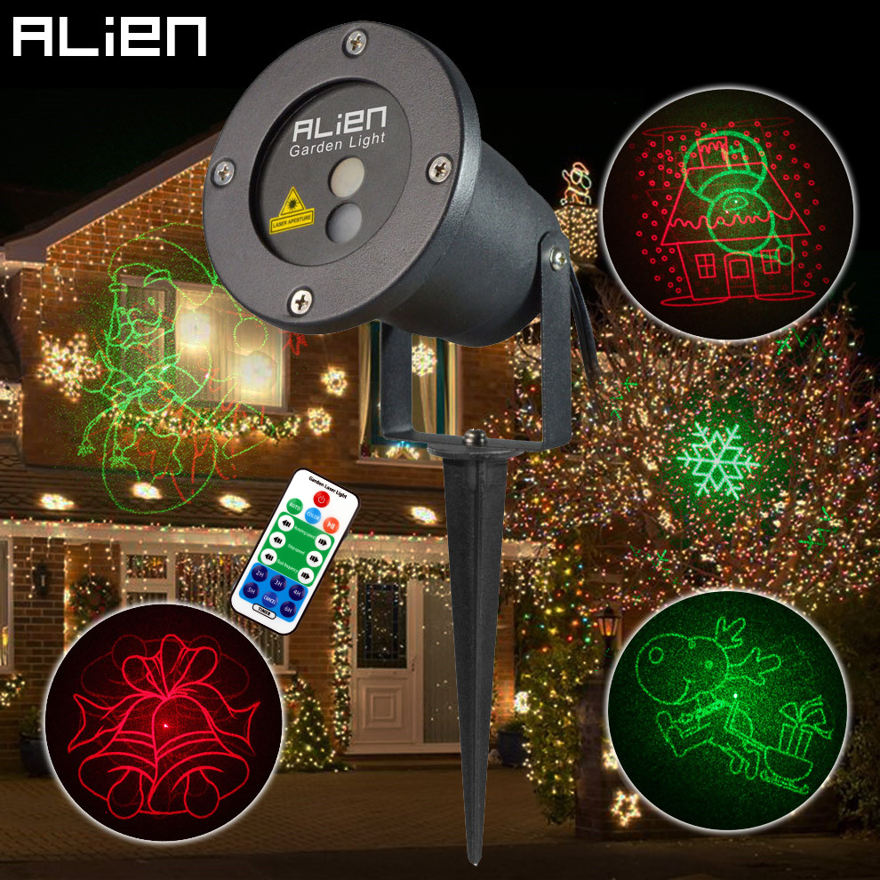 цена на ALIEN Remote RG 8 Big Xmas Patterns Outdoor Waterproof Laser Projector Garden Holiday Christmas Tree Red Green Landscape Light