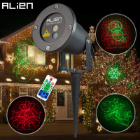 ALIEN Remote RG 8 Big Xmas Patterns Outdoor Waterproof Laser Projector Garden Holiday Christmas Tree Red Green Landscape Light