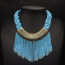 2018 Fashion Bohemian Necklace Colorful Beaded Tassel Choker Collar Statement Bib Necklace For Women Collar Bijoux