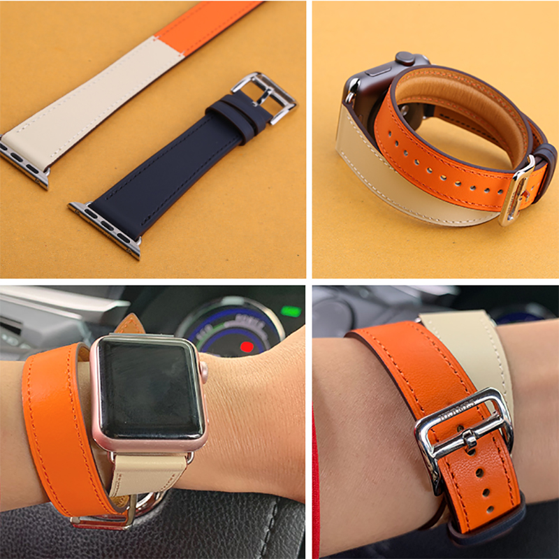 Kebitt men women double tour bands for apple watch series 4 3 genuine leather strap iwatch4