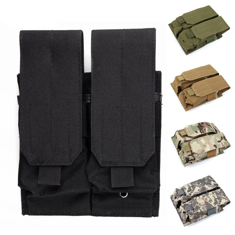 CQC Tactical Molle Clip Double 5.56 <font><b>M4</b></font>/M16 AR15 Pistol <font><b>Magazine</b></font> Pouch Military Airsoft Paintball Hunting Mag Bag image