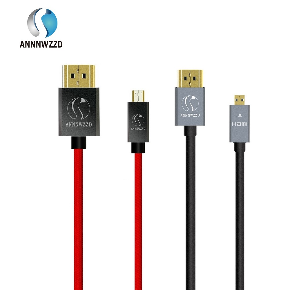 ANNNWZZD Micro HDMI (Type D) to HDMI (Type A) gold plated (High Speed) Micro HDMI cable 1.4a 2.0 Real 3D and Ethernet capable real cable ott60 1m20