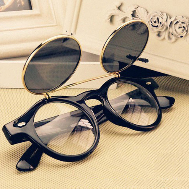 Hot Penjualan Kacamata Steampunk Goth Goggles Putaran Flip Up Sunglasses  Wanita Pria Retro Vintage Fashion Aksesoris 5bedb91b68