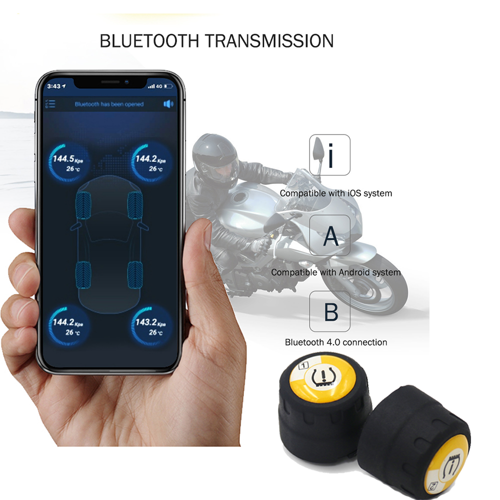 Bluetooth Motorcycle Tire Pressure Monitoring System APP Mode TPMS 2External Sensors Real-time Monitoring Temperature Tyre Alarm
