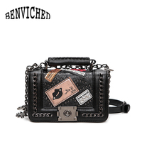 BENVICHED 2017 Spring And Summer New Chain Small Square Package Fashion Trend Rivets Female Bag Lock