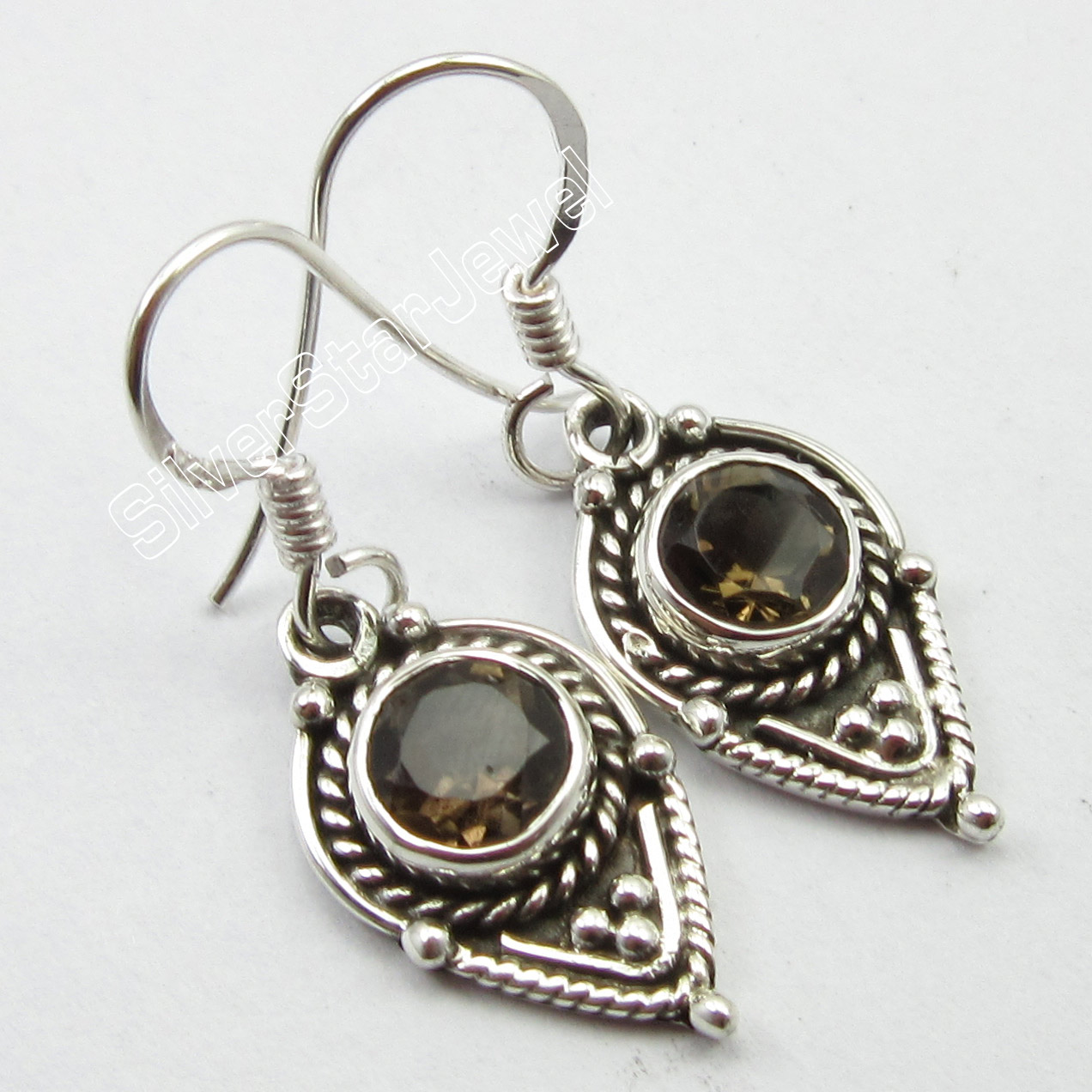 Chanti International Hallmark Silver CUT SMOKY Quarts ANCIENT STYLE Earrings 3.3 CM NEW