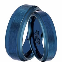 1 Pair His 8MM & Hers 6MM Blue Tungsten Carbide Wedding Band Ring Set Best Jewelry for Couples Lovers Sizes 7 10.5