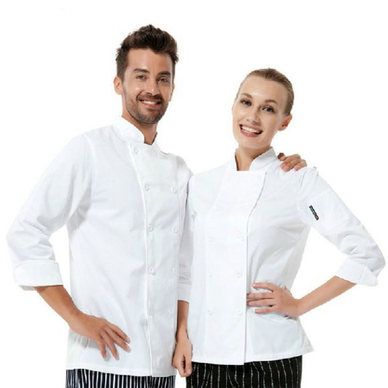 Wholesale Retail Checkedout Custom Logo Long  Sleeves Chef Uniform Men Women Polyester Waiters Uniforms S-3XL Free Shipping