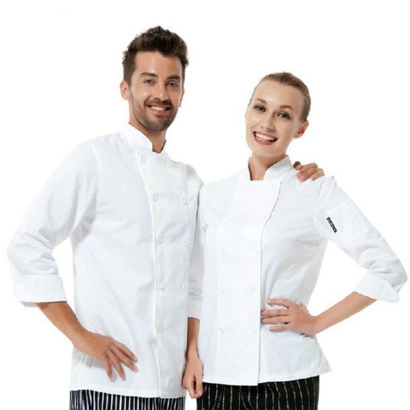 Wholesale Retail Checkedout Custom Logo Long  Sleeves Chef Uniform Men Women Polyester Waiters Uniforms S-3XL Free Shipping