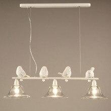 Moderno Pingente Luzes Lâmpada País Sala de Jantar Luminárias Cozinha Aves Resina Abajur de Vidro Branco de Ferro Home Decor E27 110-220 V