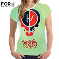 FORUDESIGNS Twenty One Pilots T-Shirt  Women Shirts Summer Female Short-sleeved Elastic Tee Tops Punk T Shirt For Girl Plus Size