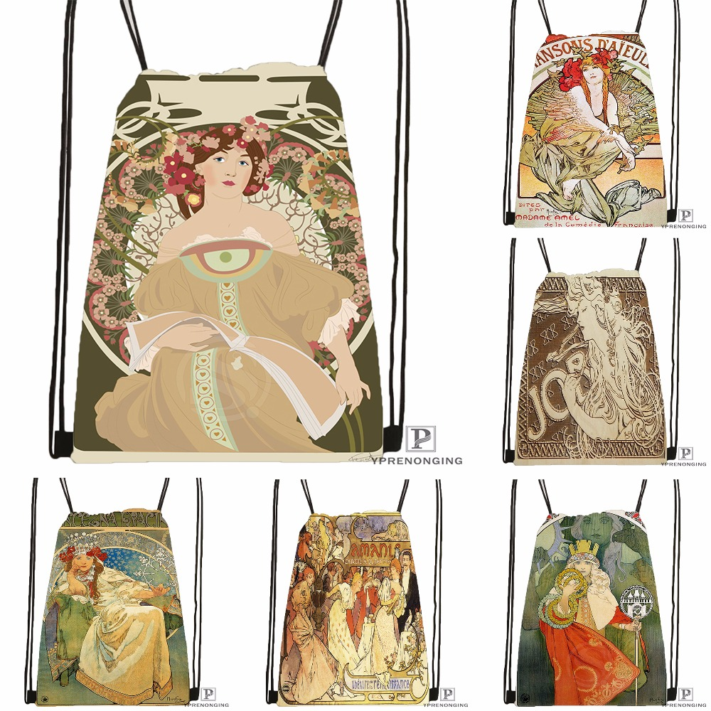 Custom Alphonse Mucha Job Skot Drawstring Backpack Bag For Man Woman Cute Daypack Kids Satchel (Black Back) 31x40cm#180531-01-02
