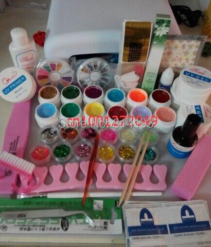 Professional Full Set mix 12 color UV Gel Kit Brush Nail Art Set + 36W Curing UV Lamp kit Dryer Curining