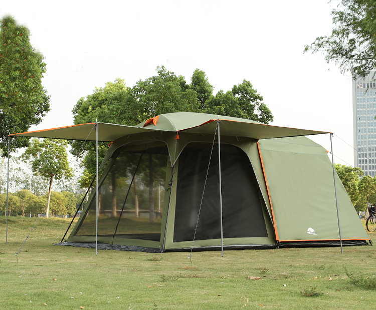 One hall one bedroom 5-8 person use double layer high quality waterproof windproof camping family tent in one person