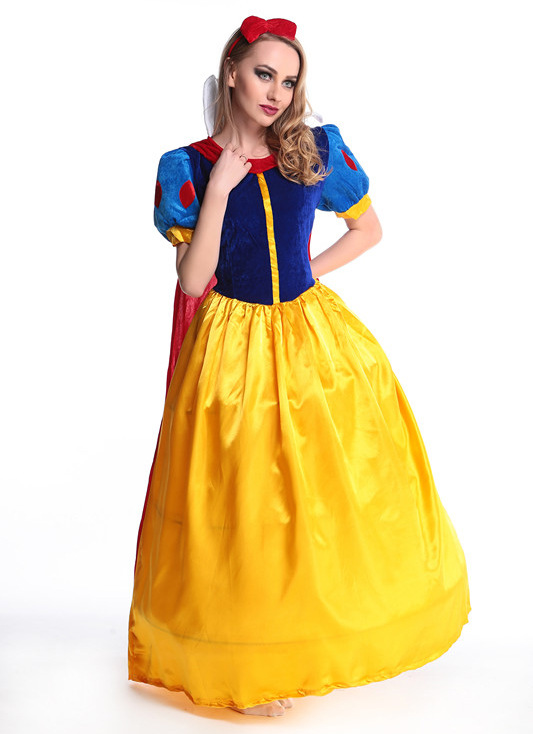 50pcs/lot Nice Women fantasia Princess Snow White Cosplay Costume Carnival Party Dress Women Adult Snow White Halloween Costume