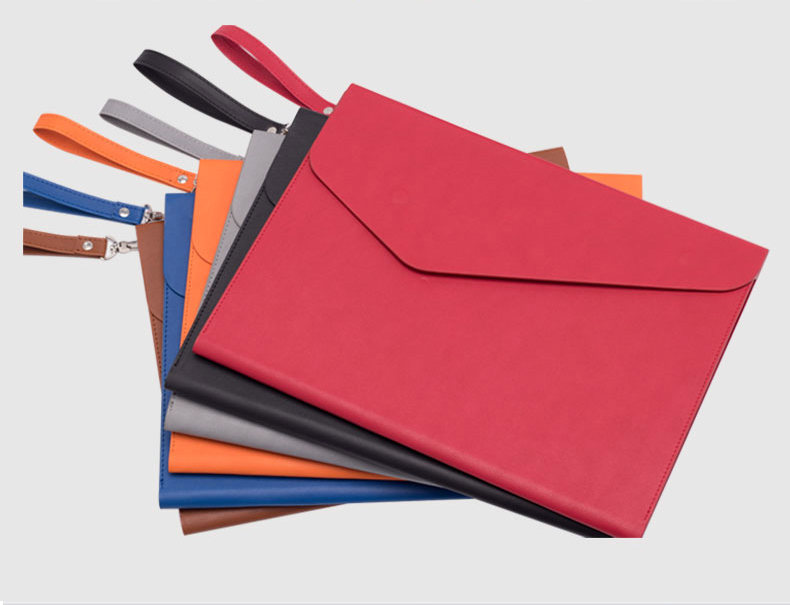 Fashion Colors Leather Folder A5 A4 Document Bag Office File Organizer For Documents With Strap