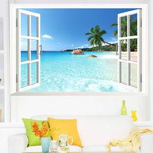 Beach Fake Window Wall Sticker Huge Removable Beach Sea 3D Window View Scenery Wall Sticker Decor Decals DIY