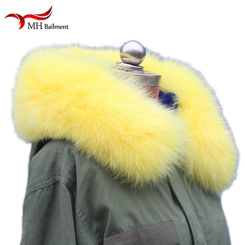 Women's Scarf Sets Beautiful Yellow Naturalrreal Fox Fur Hoody Trim Collar For Parkas And Winter Coat Jackets Hooded Genuine Fur Collar Scarves L26