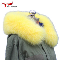 Yellow NaturalRreal Fox Fur Hoody Trim Collar For Parkas and Winter Coat Jackets Hooded Genuine fur Collar Scarves L26