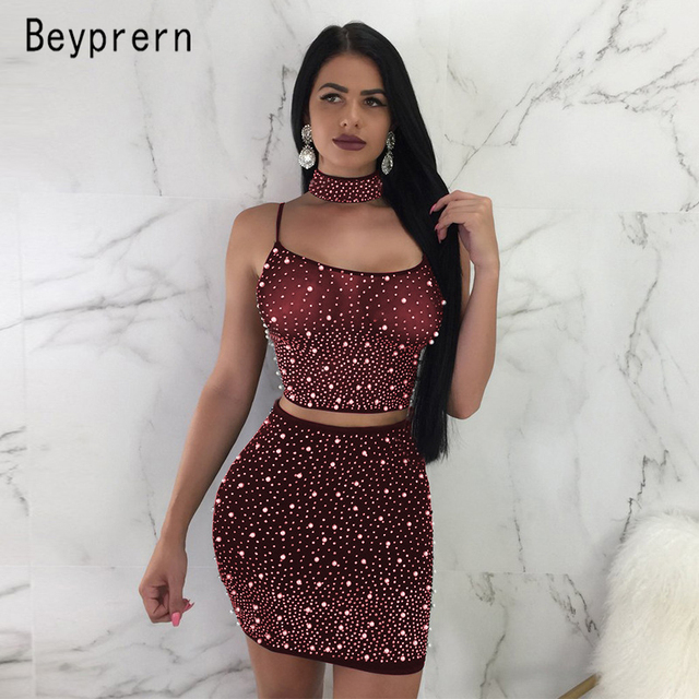 Beyprern Sexy Spaghetti Strap Rhinestone Pearl Choker Set Two Pieces  Sparkly Pearl Details Back Straps Mini Dress Night Out Wear 55a67854d101