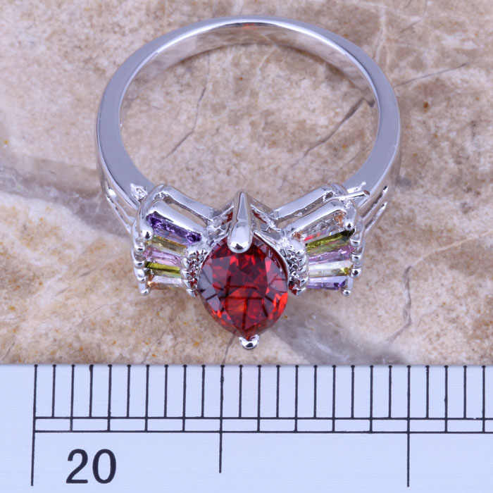 น่ารักMulticolorสีแดงโกเมนเงินผู้หญิงเครื่องประดับแหวนขนาด 6 / 7 / 8 / 9 R0527