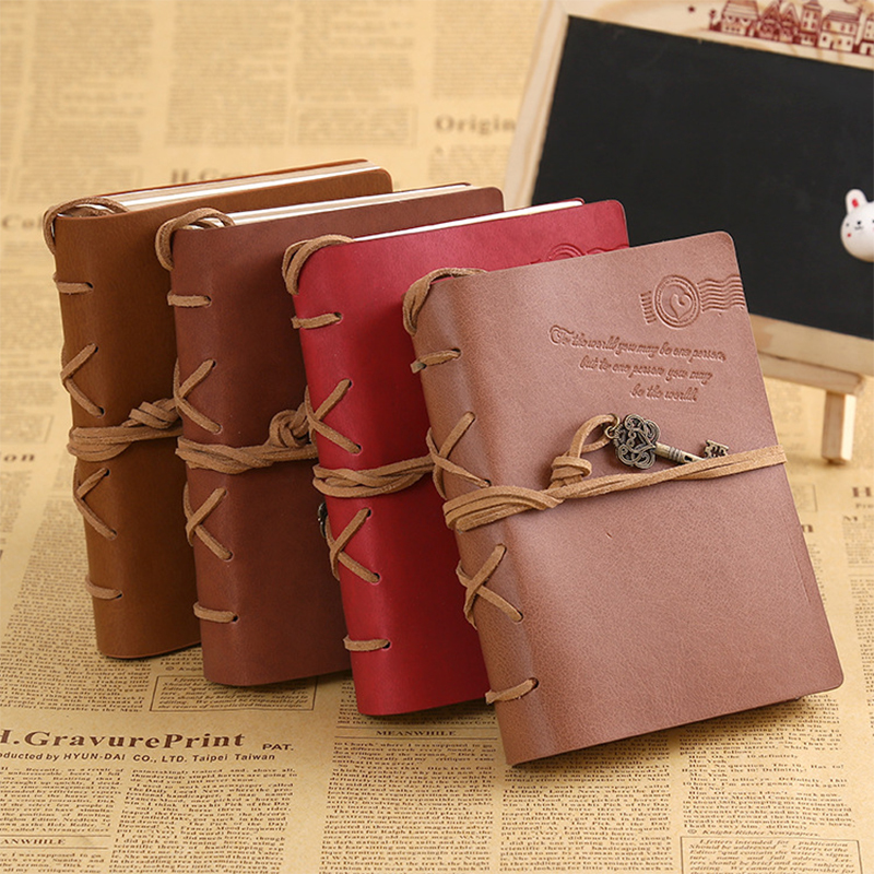 цена на Creative antique sketchbook key style with bind notepad travel leather book 120 sheets personal diary book