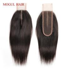 MOGUL волосы натуральный цвет темно-коричневый цвет 2 цвета 4 Remy человеческие волосы закрытие перуанские прямые волосы завязанные вручную 2*6 закрытие шнурка