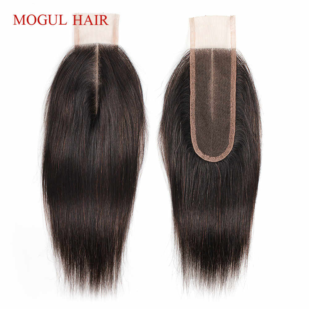 MOGUL HAIR Natural Color Dark Brown Color 2 Color 4 Remy Human Hair Closure Peruvian Straight Hair Hand Tied 2*6 Lace Closure