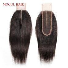 MOGUL HAIR pelo humano Remy, Color marrón oscuro, 2 colores, 4, pelo liso peruano atado a mano, 2x6, cierre de encaje