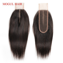 MOGUL saç doğal renk koyu kahverengi renk 2 renk 4 Remy İnsan saç kapatma perulu düz saç el bağlı 2*6 dantel kapatma
