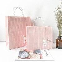 10 unids/lote 21*25*12 cm papel Kraft portátil regalo Bolsas con asas cumpleaños regalo del arte del partido ropa almacenamiento bolsa de papel