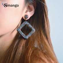 2019New Arrivals,Ladies Black Crystal Square Earring,Fashion Design.3Pairs