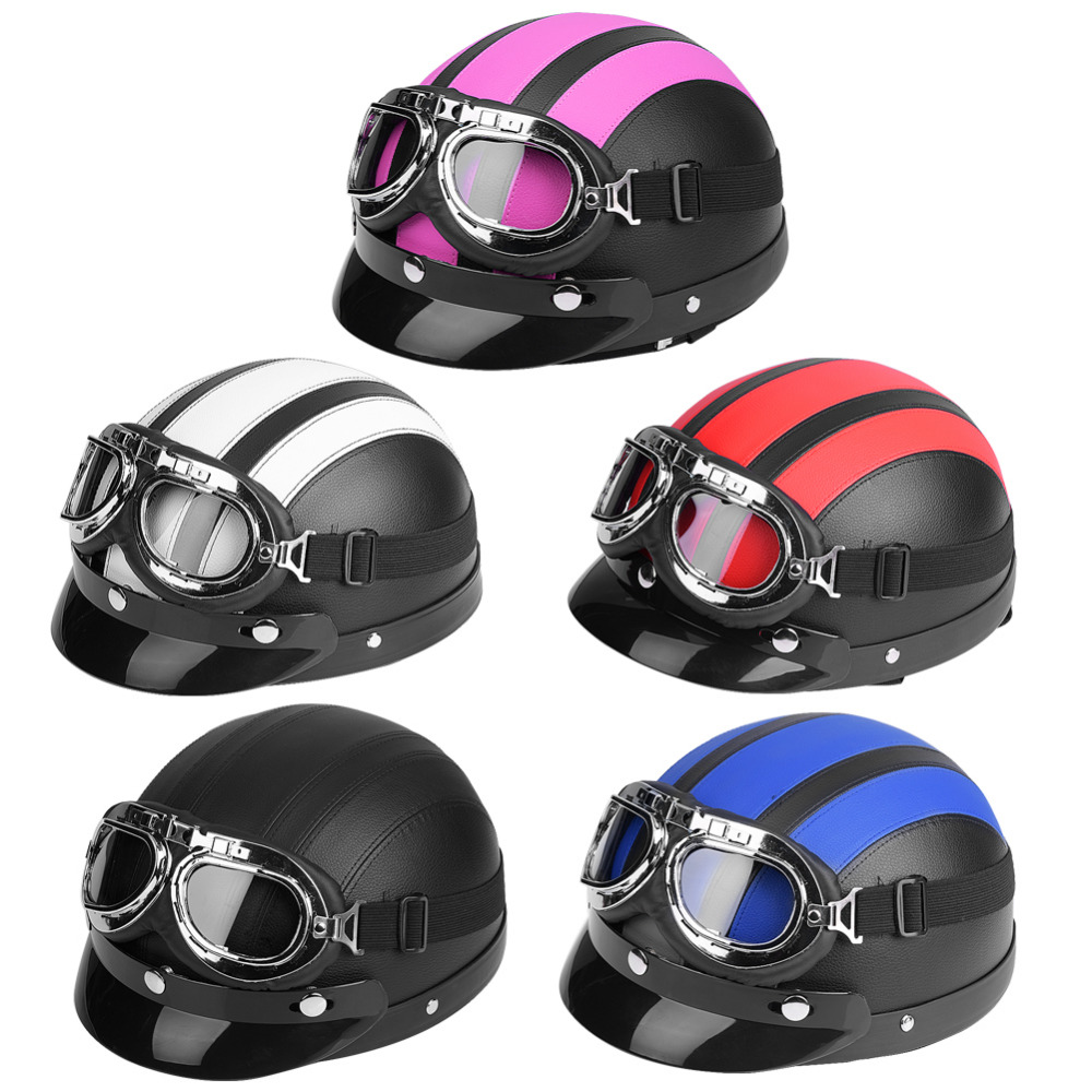 2018 Hot Universal Motorcycle Scooter Synthetic Leather Open Face Half Helmet & Visor UV Motorbike Goggles Capacete