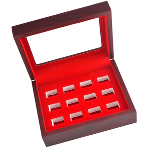 Image 3 - MagiDeal Wooden Box Glass Lid 12 Hole Slot for Sports Fans Athlete Championship Ring Red Interior Antique Collection