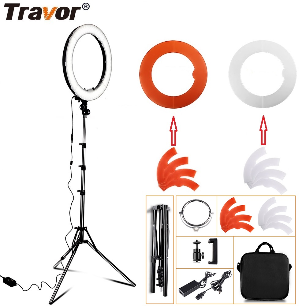 Travor LED Ring Light Dimmable Bi-color 18 240PCS Annular Lamp&Tripod Studio LED Ring Photography Lighting For Camera/Photo