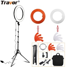 "Travor LED Ring Light Dimmable Bi-color 18"" Annular Make-up Lamp&Tripod Studio LED Ring Photography Lighting For Camera/Photo"