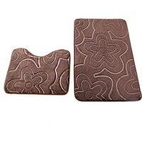 2 Pieces Sets Washable Carpet Bathroom Toilet Bath Shower Pad Mat Rug Cotton Soft Bath Mats