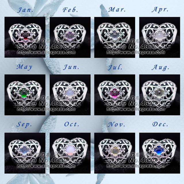 New 2015 Birthstones S925 Sterling Silver Charm Pendant Bead Fit European Woman Jewelry DIY Charm Bracelets & Necklaces Pendant