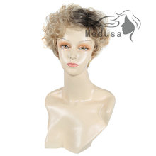 Medusa hair products: Asymmetric pixie styles Synthetic pastel wigs for women Short curly Mix color wig Peruca loira SW0243