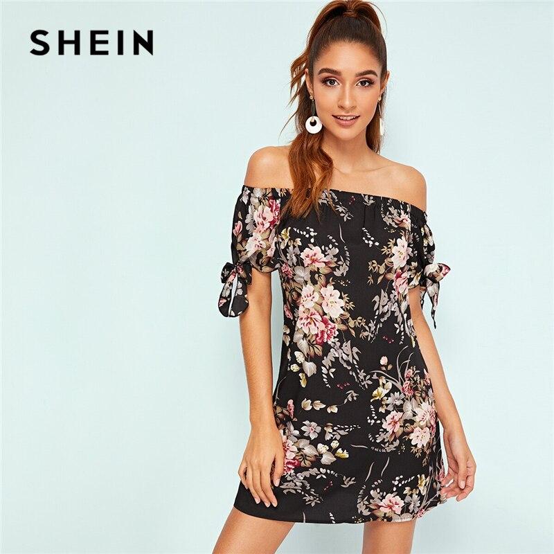 SHEIN Botanical Print Tie Cuff Off Shoulder Dress Women Knot Summer Dress 2019 Boho Floral Printed Black Shift Dresses