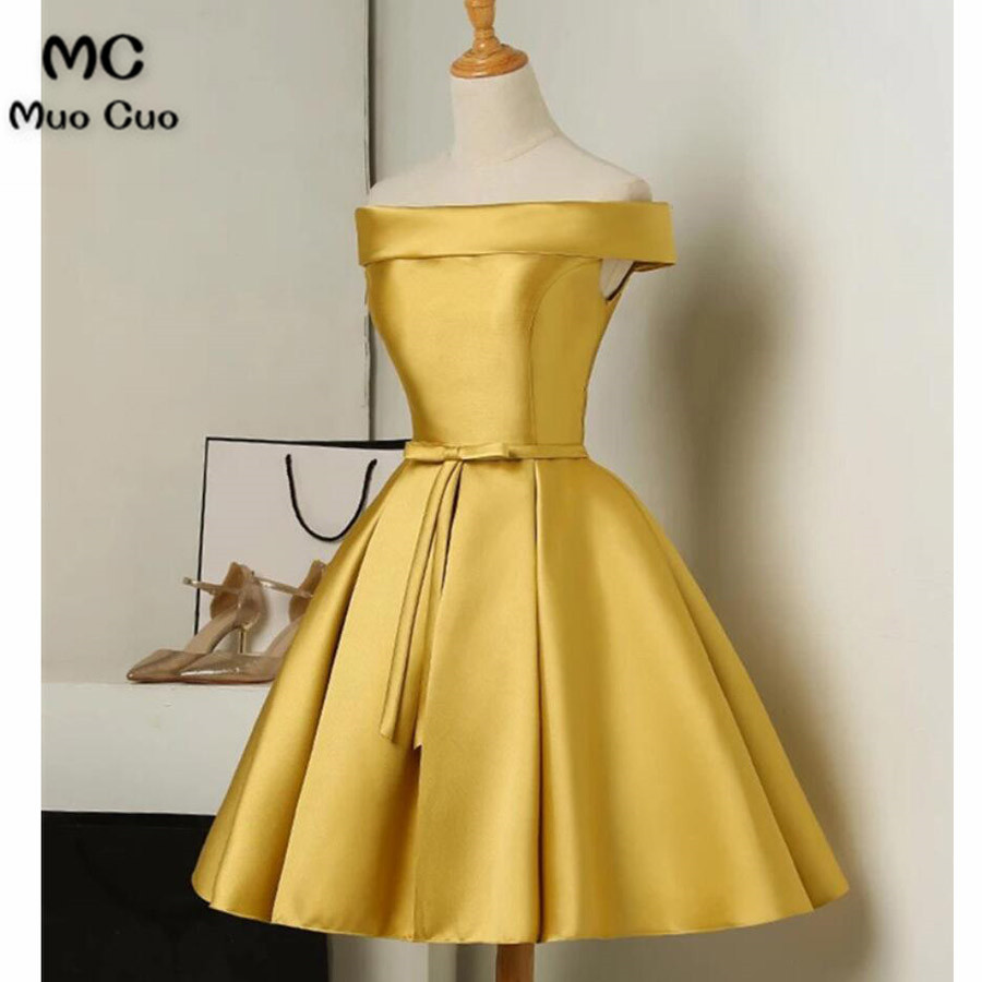 2018 Off Shoulder Short Homecoming dress Satin Cocktail party dress Short Sleeves Bow Lace Up Back homecoming Graduation  dress