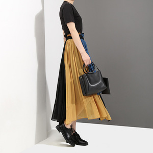 Image 3 - [EAM] 2020 новая весенняя юбка с высокой эластичной талией зеленого цвета, плиссированная Асимметричная юбка Haf body, женская мода, универсальная JG208