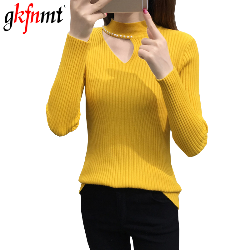 Gkfnmt Knitted Sweater Jumper Pullovers O-Neck Long-Sleeve Female White Hollow-Out Autumn