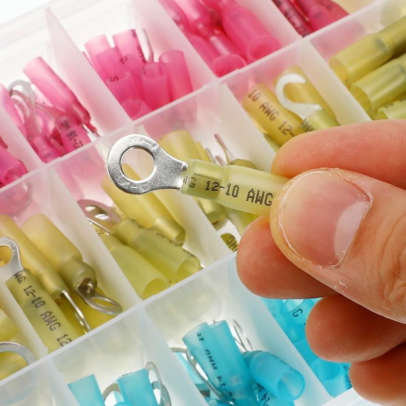 270PCS Assorted Isolierte Elektrische Draht Crimp Kabel Stecker Spade Hintern Ring Gabel Set Ring Lugs Gerollt Terminals Kit