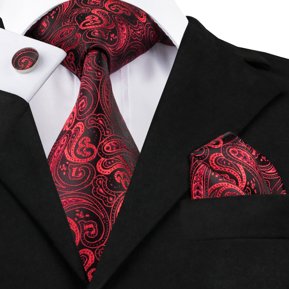 2017 Fashion Red&black Paisley Tie Hanky Cufflinks Silk Necktie Ties For Men Formal Business Wedding Party C-314