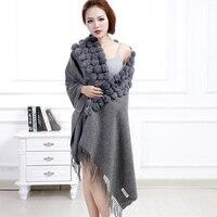 winter scarf women real fur shawls Black New 100% Wool Cashmere Pashmina Rabbit Fur Pompom Shawl Scarf Autumn Warm Cape Muffler